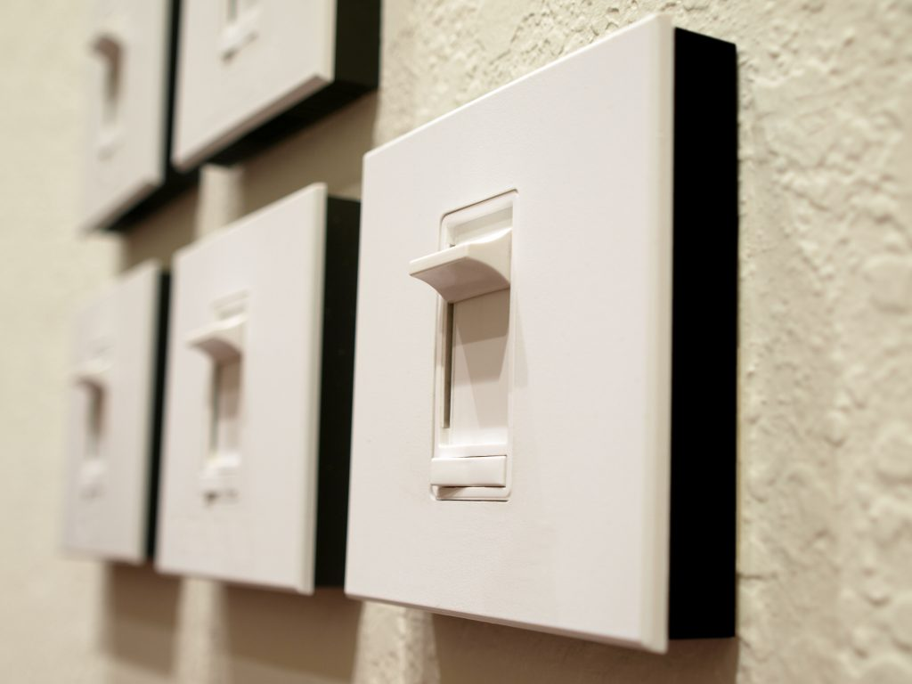 wall of dimmer switches